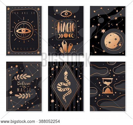 Magic Icons Doodles Golden Cards. Magic Golden Invitation Design Cards. Hand Drawn Sketch Style Vect