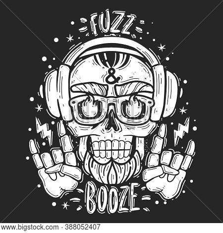Hipster Skull Music Illustration. Hipster Skull Music Emblem. Silhouette Heads Vector Isolated Illus