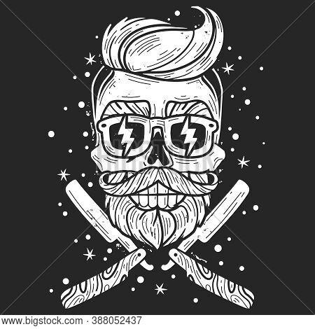 Hipster Skull Barber. Hipster Skull Barber Emblem. Silhouette Head Vector Isolated Illustration. Bru