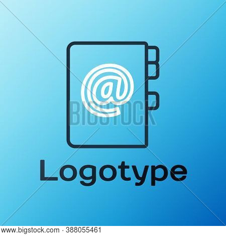 Line Address Book Icon Isolated On Blue Background. Notebook, Address, Contact, Directory, Phone, Te
