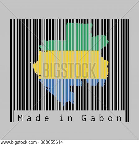 Barcode Set The Shape To Gabon Map Outline And The Color Of Gabon Flag On Black Barcode With Grey Ba