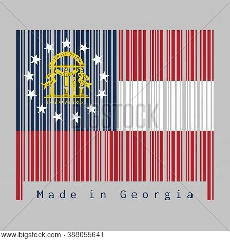 Barcode Set The Shape To Georgia Map Outline And The Color Of Georgia Flag On Dark Grey Barcode With