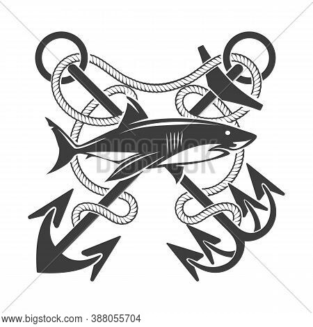 Big Shark And Crossed Anchors With Marine Ropes Nautical Tattoo. Vector Illustration.