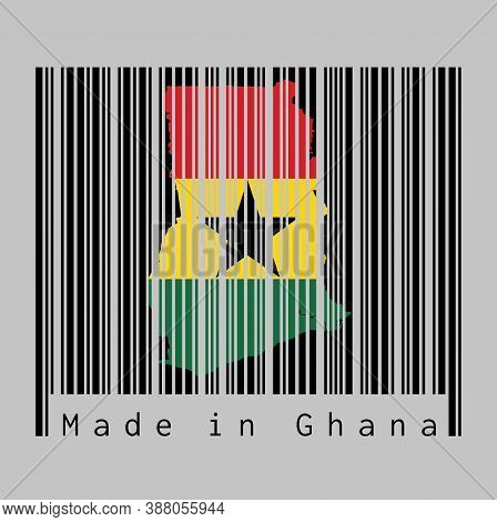 Barcode Set The Shape To Ghana Map Outline And The Color Of Ghana Flag On Black Barcode With Grey Ba