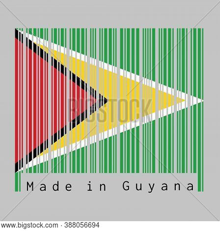 Barcode Set The Color Of Guyana Flag, A Green Field With The Black Red Triangle And White Golden Tri