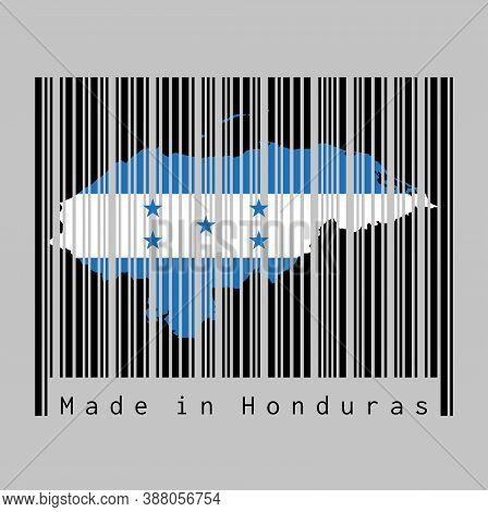 Barcode Set The Shape To Honduras Map Outline And The Color Of Honduras Flag On Black Barcode With G