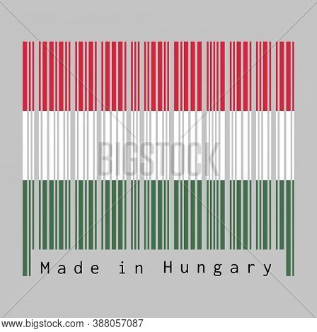 Barcode Set The Color Of Hungary Flag, A Horizontal Tricolor Of Red, White And Green. Text: Made In