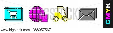 Set Online Shopping On Screen, Worldwide Shipping And Box, Forklift Truck And Envelope Icon. Vector