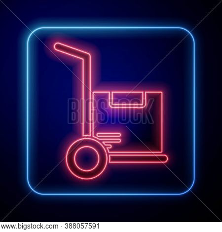 Glowing Neon Hand Truck And Boxes Icon Isolated On Blue Background. Dolly Symbol. Vector Illustratio