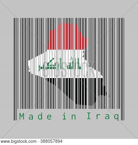 Barcode Set The Shape To Iraq Map Outline And The Color Of Iraq Flag On Dark Grey Barcode With Grey
