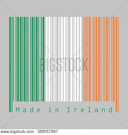 Barcode Set The Color Of Ireland Flag, A Vertical Tricolor Of Green, White And Orange. Text: Made In