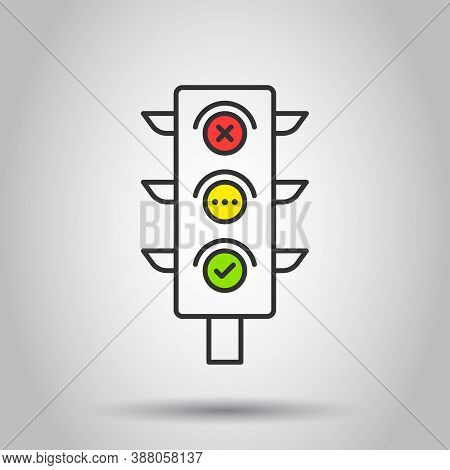 Semaphore Icon In Flat Style. Traffic Light Vector Illustration On White Isolated Background. Crossr