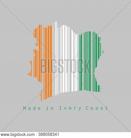 Barcode Set The Shape To Ivory Coast Map Outline And The Color Of Ivory Coast Flag On Grey Backgroun