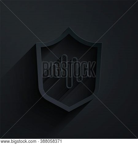 Paper Cut Shield Voice Recognition Icon Isolated On Black Background. Voice Biometric Access Authent