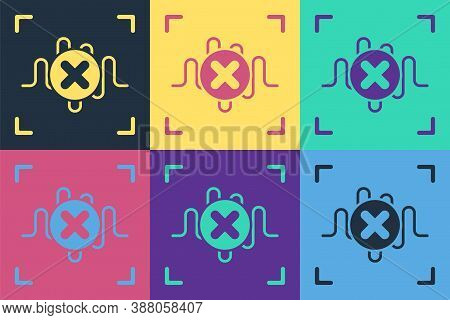 Pop Art Rejection Voice Recognition Icon Isolated On Color Background. Voice Biometric Access Authen