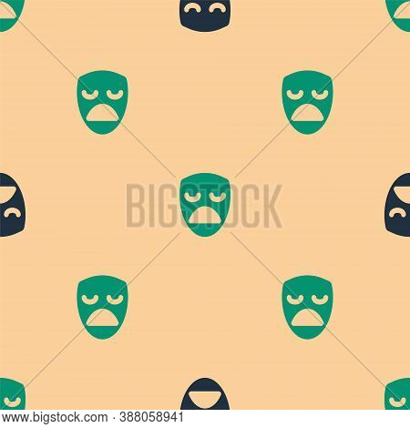 Green And Black Drama Theatrical Mask Icon Isolated Seamless Pattern On Beige Background. Vector