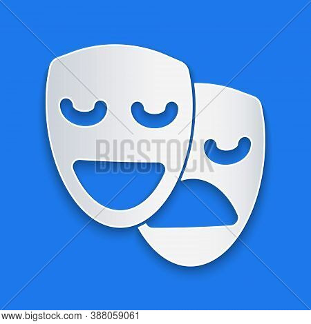 Paper Cut Comedy And Tragedy Theatrical Masks Icon Isolated On Blue Background. Paper Art Style. Vec