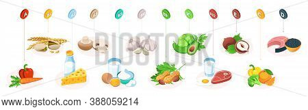 Vitamins In Food, Healthy Nutrition Fruits, Vegetables And Meat, Healthy Eating Infographics. Vitami