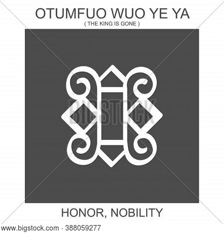 Vector Icon With African Adinkra Symbol Otumfuo Wuo Ye Ya. Symbol Of Honor And Nobility