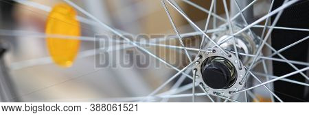 Close-up Of Spokes On Clean Shiny Bicycle Standing Outside On Street. Part Of Bike. Detail Or Compon