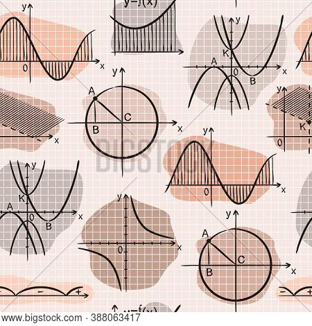 Seamless Doodle Pattern With School Algebra Elements. Pink Pattern With Mathematical Charts And Grap