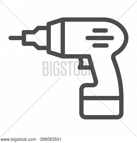 Electric Drill Line Icon, House Repair Concept, Drill Sign On White Background, Electric Hand Drill