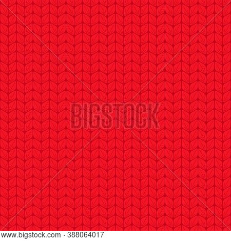 Red Seamless Pattern With Interweaving Of Braids. Stylized Textured Yarn Or Wool Plait. Winter Backg