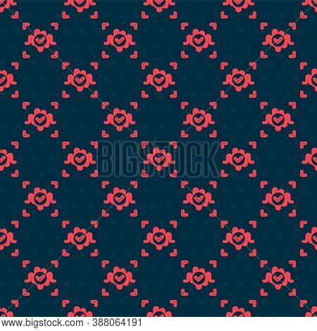 Red Line Voice Recognition Icon Isolated Seamless Pattern On Black Background. Voice Biometric Acces