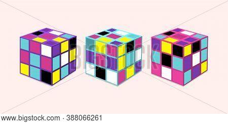 Vilnius, Lithuania - October 04, 2020: Vector Illustration Of Multicolored Rubik's Cubes.