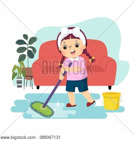 Vector Illustration Cartoon Of A Little Girl Mopping The Floor. Kids Doing Housework Chores At Home