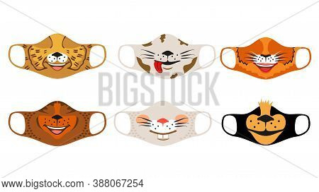 Set Of Designs O Reusable Mouth Kids Funny Masks With Animals Faces In Vector. Fashion Medical Black