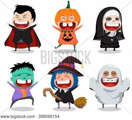 Halloween Vector Character Set. Halloween Characters Like Vampire, Nun, Zombie, Witch And Ghost Isol