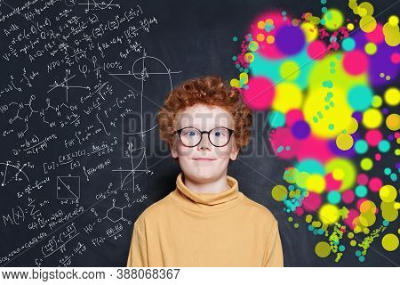Smart Boy On Blackboard Background With Maths Formulas And Art Pattern. Science And Arts Occupations
