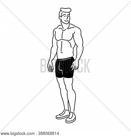 Young Male Athlete Bodybuilder With A Naked Torso In Black Shorts.flat Sketch Line Design Style Mini