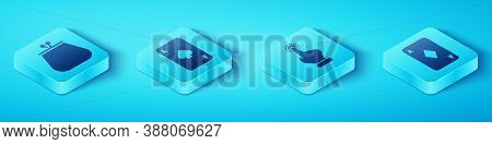 Set Isometric Wallet, Playing Card With Spades, Playing Card With Diamonds And Hand Holding Casino C