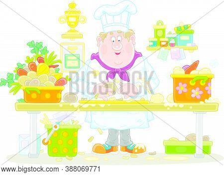 Funny Fat Cook In A White Hat And Uniform, Standing At His Kitchen Table And Peeling Fresh Vegetable