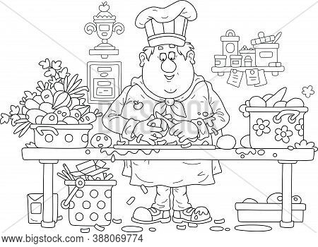 Funny Fat Cook In A Chef Hat And Uniform, Standing At His Kitchen Table And Peeling Fresh Vegetables