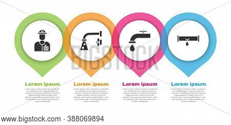 Set Plumber, Water Tap, Water Tap And Broken Pipe With Leaking Water. Business Infographic Template.