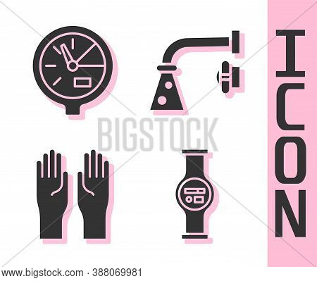 Set Water Meter, Water Meter, Rubber Gloves And Water Tap Icon. Vector