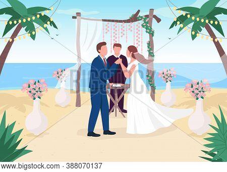 Tropical Wedding Ceremony Flat Color Vector Illustration. Romantic Venue. Ceremonial Service On Sea