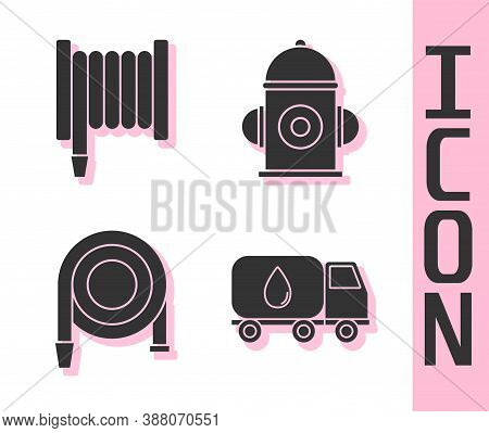 Set Water Delivery Truck, Fire Hose Reel, Fire Hose Reel And Fire Hydrant Icon. Vector