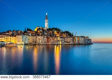 View Of The Old Town Of Rovinj In Croatia At Night