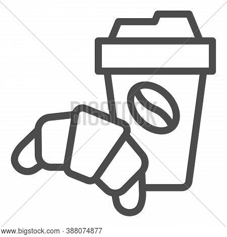 Croissant And Cup Of Coffee Line Icon, Breakfast Concept, Coffee Break Time With Croissant Sign On W
