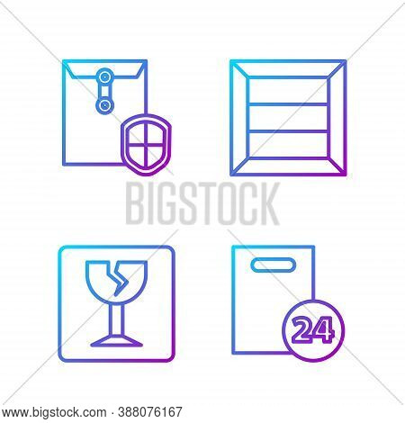 Set Line Delivery With Cardboard Boxes, Fragile Broken Glass, Envelope With Shield And Wooden Box. G