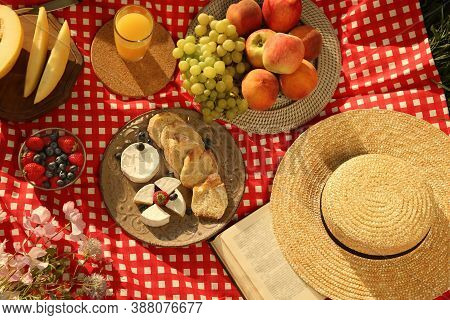 Picnic Blanket With Delicious Food And Juice, Above View