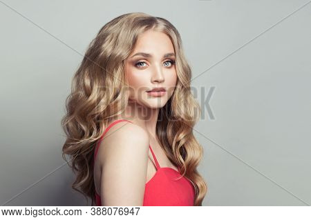 Beautiful Blonde Hair Model Woman With Long Blonde Hairstyle On White Background