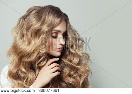 Hair Model Woman With Long Blonde Hairstyle On White Background