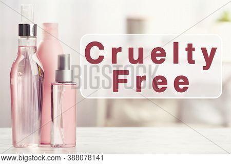Cruelty Free Concept. Personal Care Products Not Tested On Animals In Bathroom