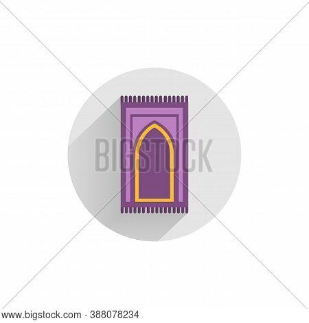 Carpet For Namaz Flat Icon. Mat For Prayer Colorful Flat Icon With Long Shadow. Carpet Flat Icon