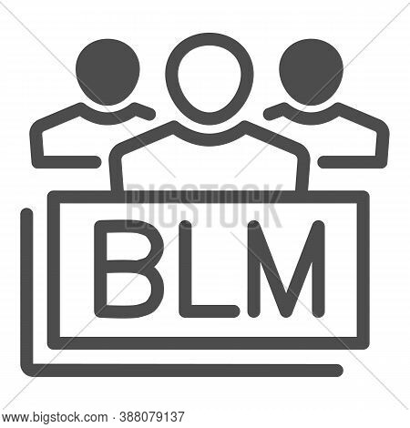 Group Of People With Blm Text Line Icon, Black Lives Matter Concept, Group Of Multiethnic People Sig
